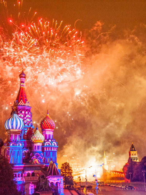 St Basil's Catherdral with Fireworks